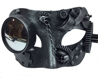 Steampunk Silver Industrial Mirror Monocle Eye Mask Halloween Masquerade Mask