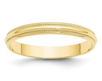 New Solid 10k Yellow Gold Milgrain 3mm Wedding Band Sizes from 4 - 14. Solid Stamped 10k Yellow Gold, Made in the U.S.A.