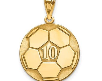 """Personalized Gold Plated over Sterling Silver Free Name And Number Laser-Engraved Soccer Pendant Charm 1"""" x 1"""" Free 16,18, or 20"""""""