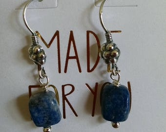Demin Lapis with Antiqued Sterling Silver Earrings