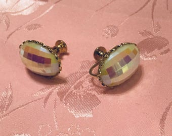 Pink Rainbow Screw Back Earrings