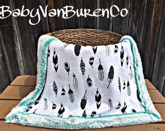 BabySizeShipsNow - Feather Minky Baby Blanket - Crib Blanket