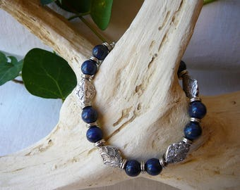 natural lapis lazuli beads and silver bracelet