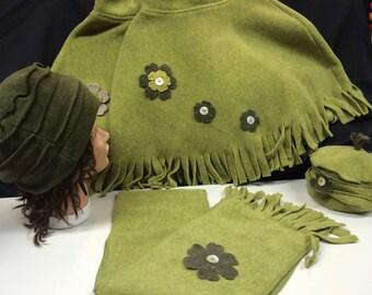 Child or adult fleece set compose same bright green