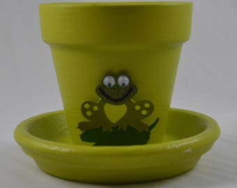 Lily's Pad Small Hand Painted Flower Pot