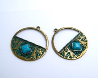 Bohemian charms - ethnic - boho - crafting - jewelry creations - antique brass - natural gemstone cabochon-