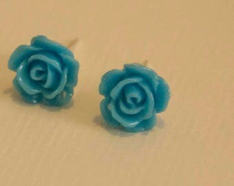 Blue rose silver plated stud earrings