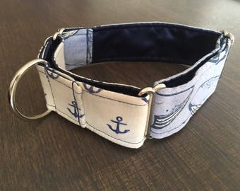 Anchors Aweigh 1.5 inch Martingale Dog Collar - READY TO SHIP - Two Tone