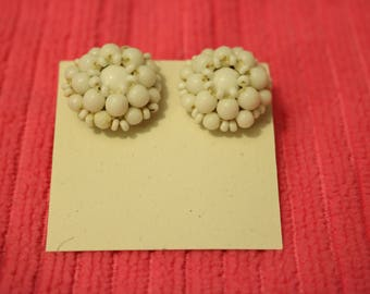 Bead Cluster Screw Back Earrings