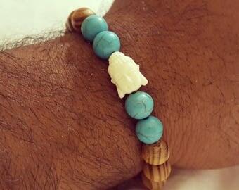 Boho Mens beaded stretch bracelet