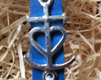 Leather Bracelet, Camargue cross.