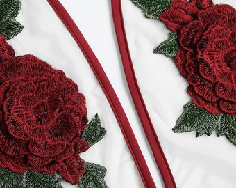Rose Applique Transparant Bodysuit