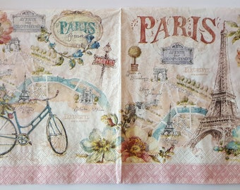 "Napkin ""Paris"" dimension: 33 x 33 cm"