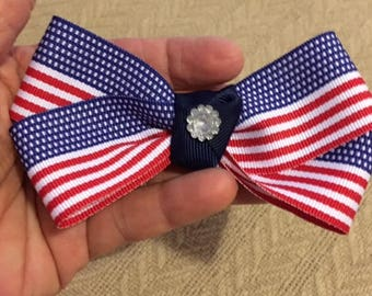 American flag hair bow