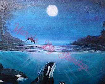 """Midnight Orcas   Orca Whale Art Print   13"""" x 19"""""""