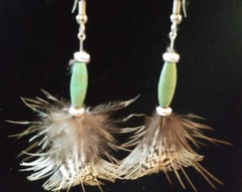 Turquoise and feather earrings