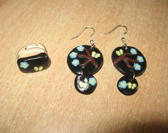 set earrings and adjustable ring