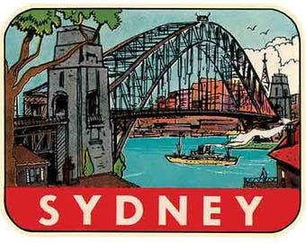 Vintage Style Sydney Australia  Travel Decal sticker