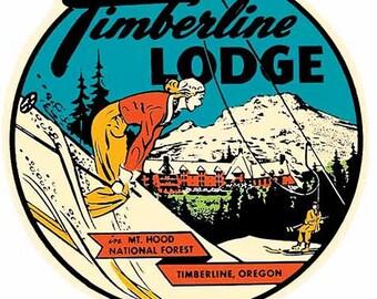 Vintage Style  Timberline Lodge Oregon Travel Decal sticker
