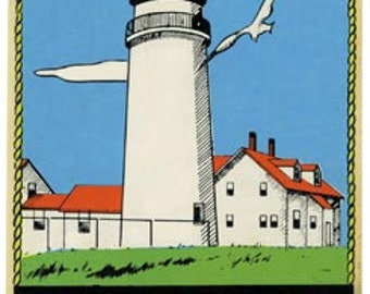 Vintage Style Cape Cod Lighthouse  Massachusetts Travel Decal sticker