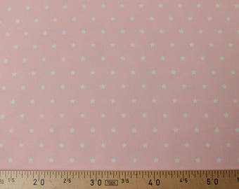 Pink stars coated cotton white 160 cm