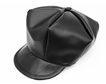 Faux black leather newsboy cap