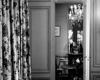 """Photography black and white: """"Open door to dining room"""" - Saint-Emilion, FRANCE - 2011"""