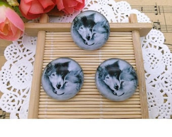 1 glass dome cabochon couple Wolf (x 1)