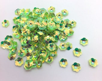 40 pearly green flower bead caps/sequins