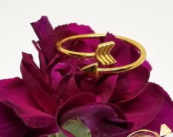 14k Gold Arrow Ring, Adjustable, Stackable