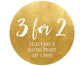 Digital Print Promotion, 3 for 2 Digital Prints, Digital Download, Printable Art, Downloadable Prints