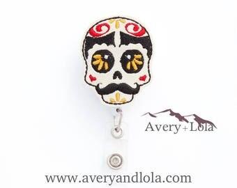Sugar Skull Badge Reel, Autumn Badge Reel, Halloween Badge Reel, Sugar Skull ID Holder, ID Badge Holder, Nurse Gift, Teacher Gift