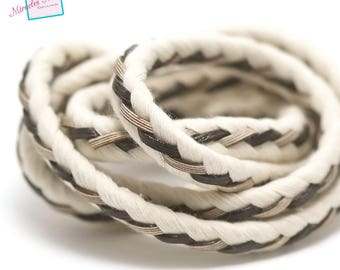 1 m cord braided leather and rope 10 x 7 mm, off-white/black gold