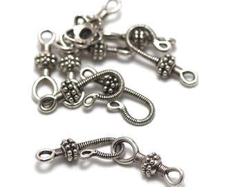 """4 clasps hooks """"Tibetan"""", 48 x 9 mm"""