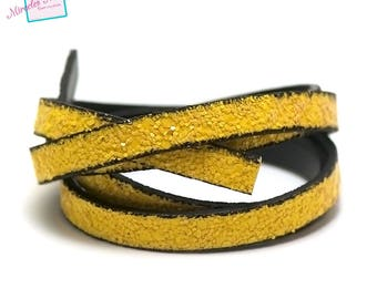 """1 m strap leather 10 x 2 mm, doubled """"flake"""" effect, yellow"""