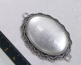 Backing / connector pendant + glass cabochon 30 x 40