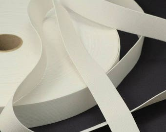 25 m width white elastic 10 mm