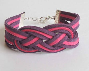 Two-tone Celtic knot bracelet purple and fuchsia suede suede
