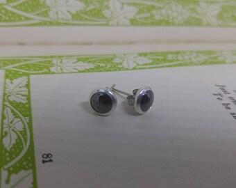 Black Mirror - black Swarovski crystal in silver setting stud earrings