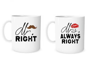 Custom Mug Personalized Mug Mr. Right Mrs. Always Right Mug Coffee Mug Mr Mrs  Mug Anniversary Mug Wedding Mug Valentine Mug  Couple Gift