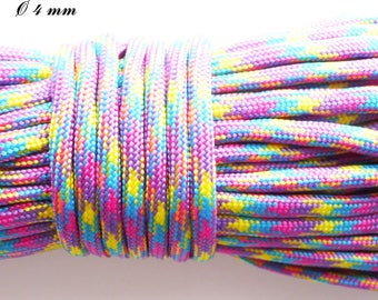 Cord / Paracord 550 4 mm: purple pink yellow Turquoise