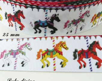 """Carousel"" 25 mm white grosgrain Ribbon sold by 50 cm"
