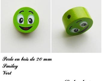 Wooden bead of 20 mm, flat bead, smiley face: Green