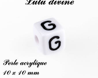 Alphabetical 10 x 10 mm white acrylic bead: letter G (set of 10)