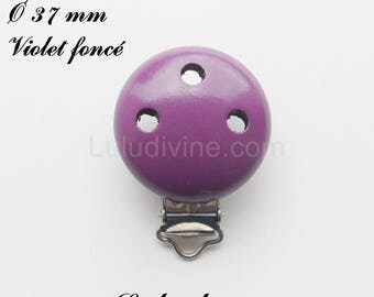 Clip / wooden pacifier Clip, Ø 37 mm from loop: dark purple