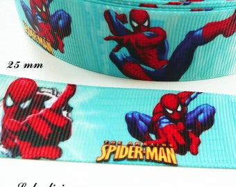 Spiderman 25 mm blue grosgrain Ribbon sold by 50 cm