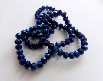 metallic blue 4mmx6mm glass facet 20 beads