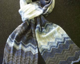 Great shades blue and white knit scarf handmade