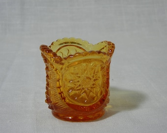 L.E. Smith Oneata Chimo Amber Glass Toothpick Holder