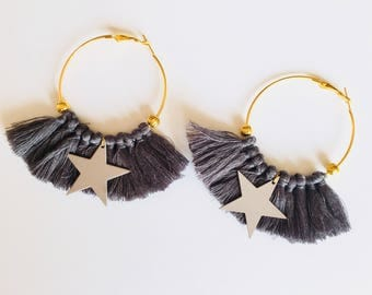 Elegant hoops & gray tassels! Large earrings, tassel pom pom pom pom earrings fancy Bohemian style